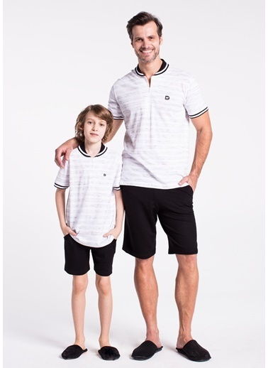Dagi Erkek Çocuk Pike Polo Yaka Altı Şort Takım Beyaz